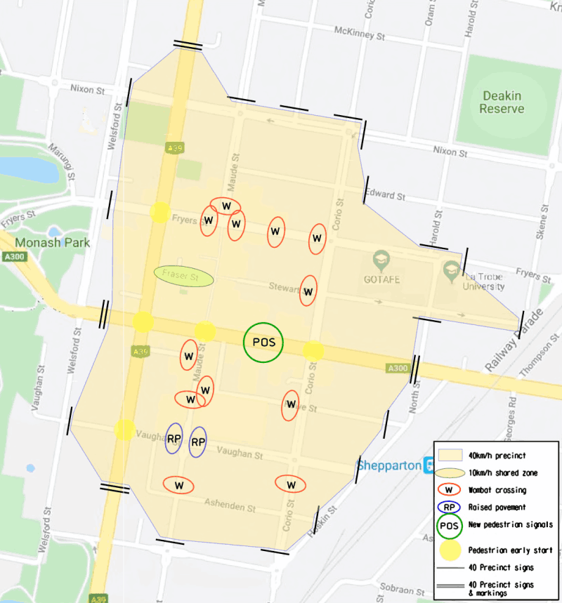 Map of the future 40 km/h speed zone in Shepparton's CBD.