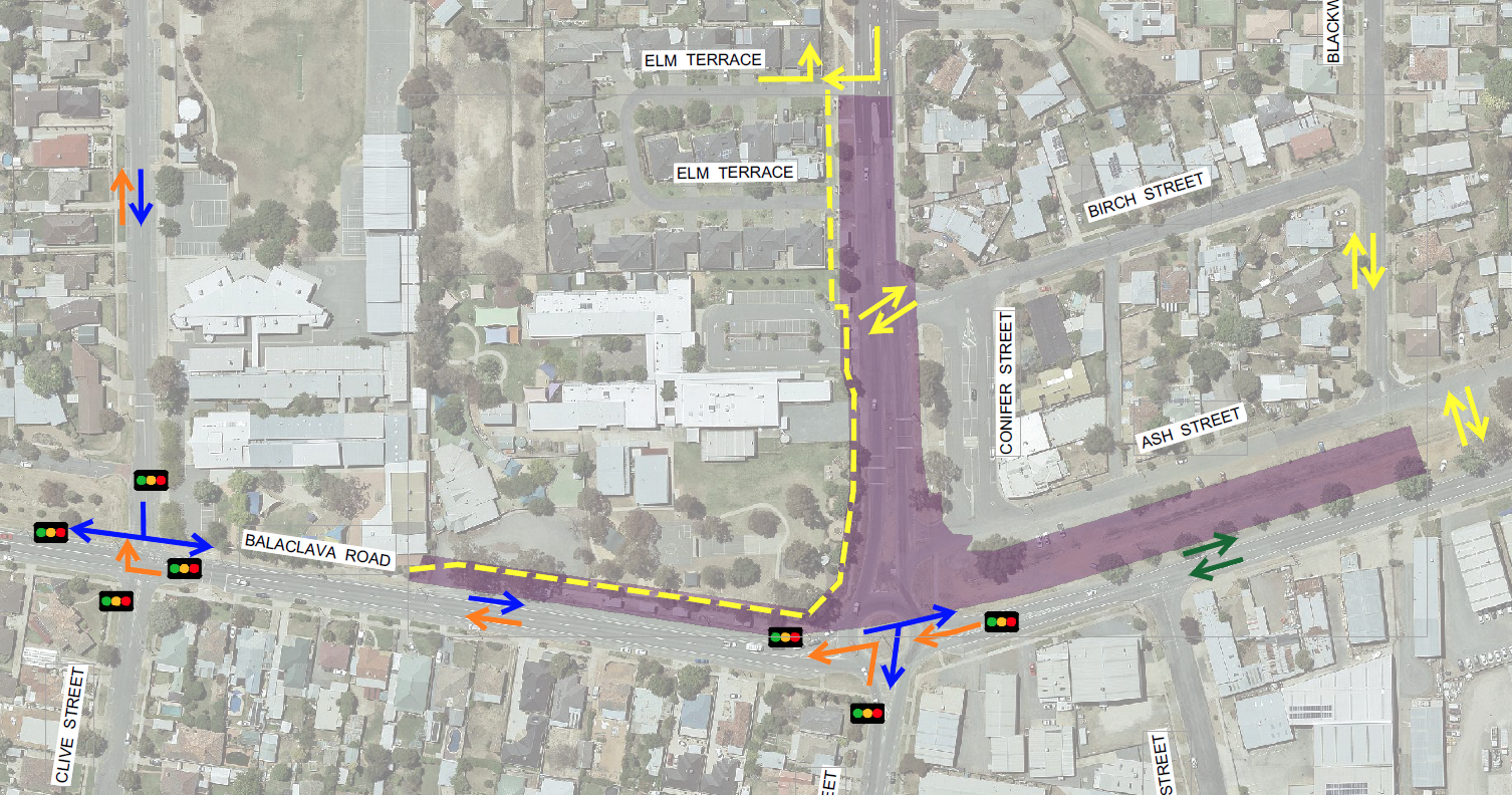 The Balaclava Rd / Verney Rd Intersection Upgrade - Stage 1 Traffic Management Portrait