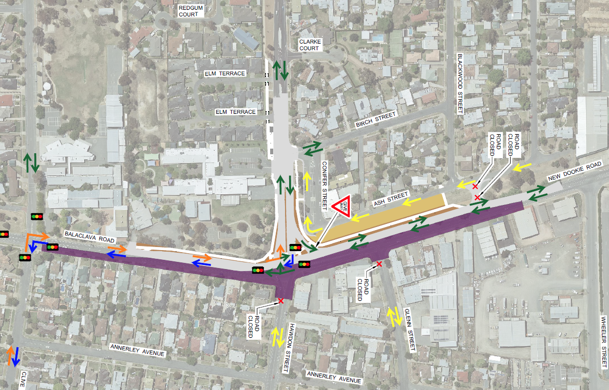 The Balaclava Rd / Verney Rd Intersection Upgrade - Stage 2 Traffic Management Portrait