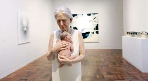 Sam Jinks 'Woman and Child' sculpture in SAM Contemporary Gallery.
