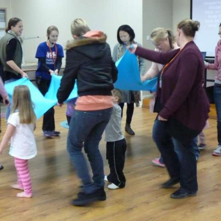 """Exchange Church - Mainly Music Project - """"The Mainly Music team is excited to see families enjoy the use of music, rhythm and other music related activities. Mainly Music is a great opportunity for children to interact with their parent/caregiver each week at the Kialla Park Community and Sport complex.  Children have developed skills to enhance their early childhood education and parents have benefited from the opportunity to connect with other parents and build friendships. The grant enabled the group to purchase sound equipment instruments and props for the activities."""""""