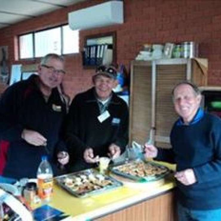 "Men in the Kitchen - Tatura Men's Shed - ""We received a Community Matching Grant to purchase essential kitchen to kick start our amazing lunch program? Any one for some wild duck pie, rabbit pasta, soup, cake and dessert, maybe followed by some Shedders Ginger Beer? Tat men are excelling in the kitchen."""