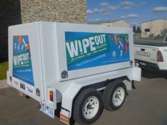 The Wipeout Community Trailer is free to use and includes all cleaning chemicals, and a compressor for painting over surfaces if required.