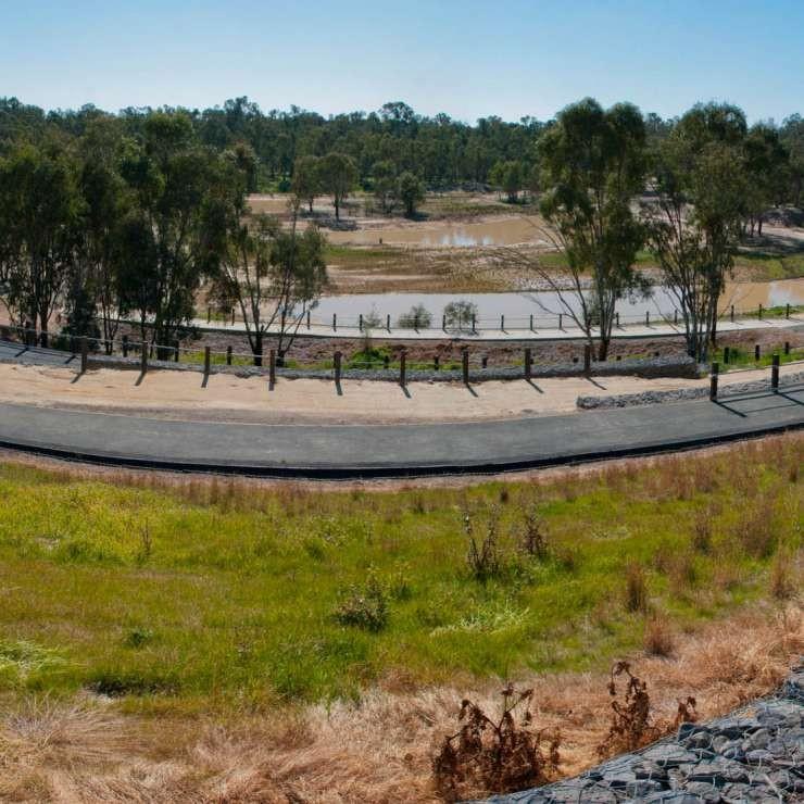 Panoramic zig zag to wetland
