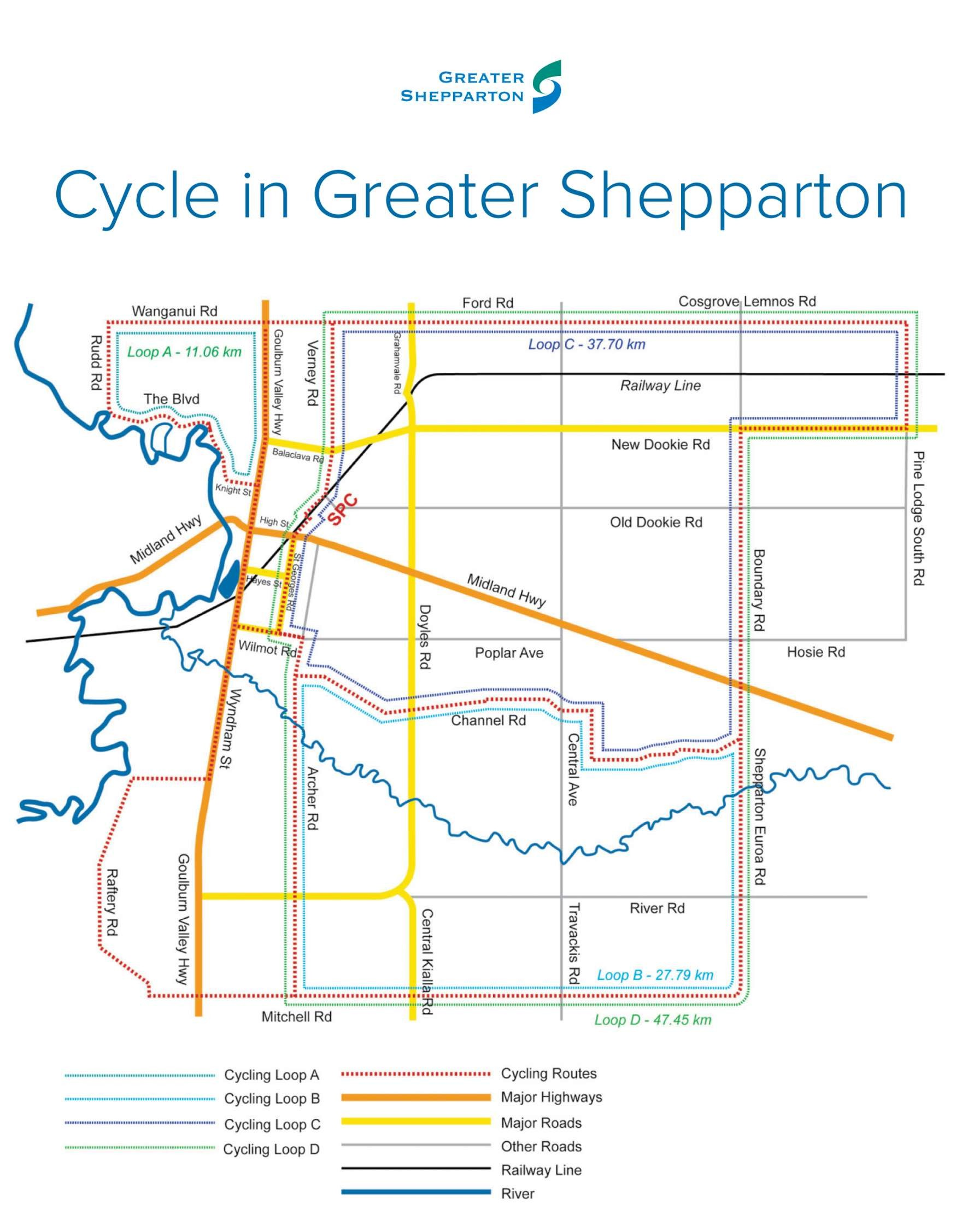 This map shows a number of training loops available in the Shepparton area.