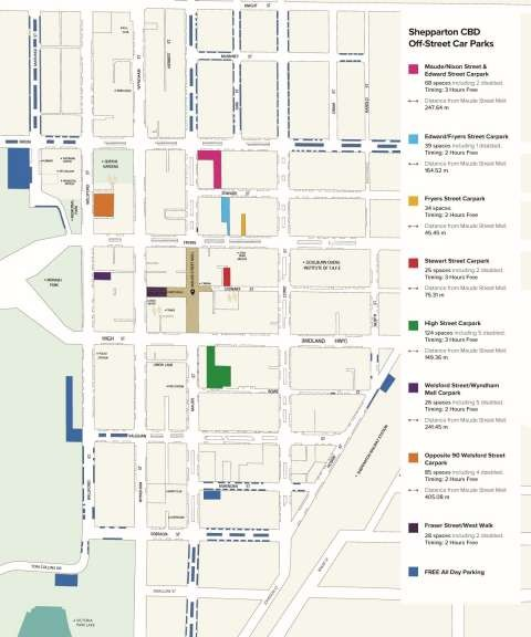 Download the Shepparton Off-Street Parking Map from this page in PDF format.