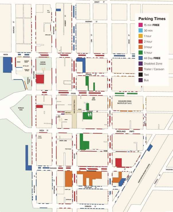 View an enlarged image of the Shepparton Parking Map, or download from this page in PDF format.
