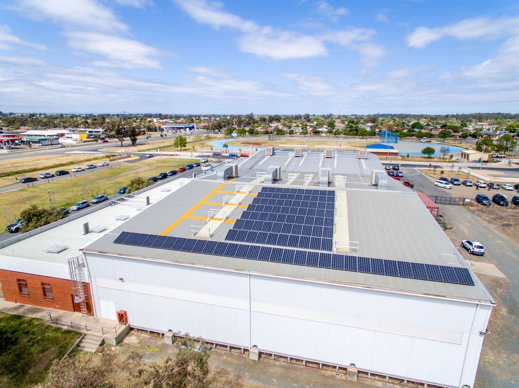Solar panels installed at the Shepparton Sports Stadium in 2018