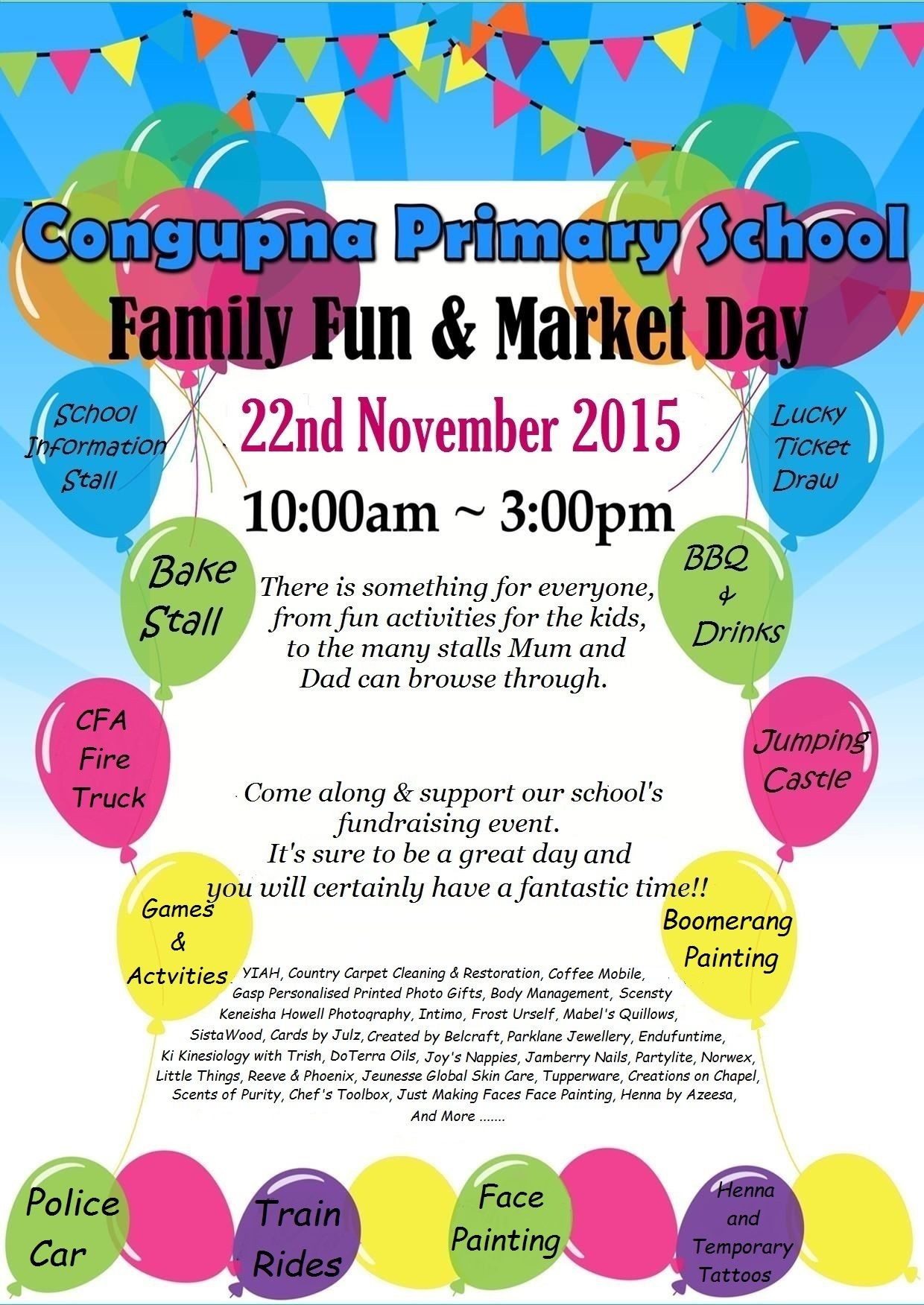 congupna primary school family fun market day greater when sun 22 nov 2015 sunday 22nd of 2015 at 10 00am to 3 00pm where congupna primary school katamatite shepparton rd cost