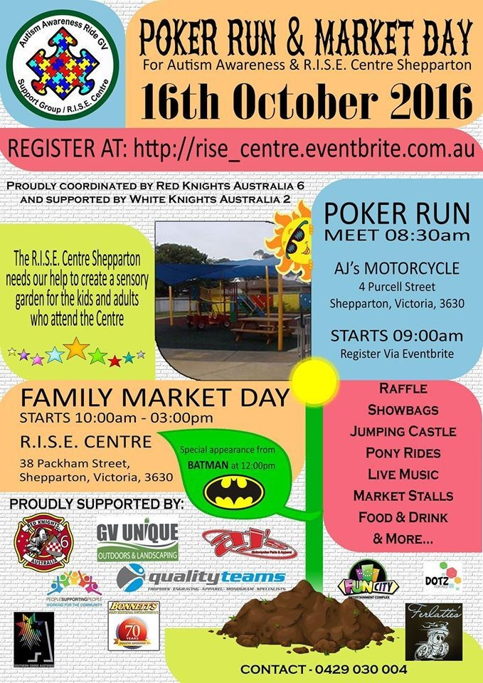Autism Awareness Support Ride Market Day Shepparton 2016