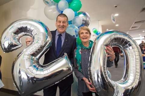 Former Premier Jeff Kennett and 20 year member Pam Pogue celebrate Aquamoves' birthday today.