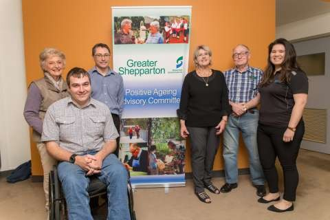 Left to right: Jeanette Ryan, Jason Watts (GSCC Team Leader Assessment & Inclusion), Barbara Carter, Tony Bell, Sarah Pain. Front: Mark Tomkins (GSCC Access & Inclusion Officer) Absent: Cr Les Oraszvary, Jodie Campbell, Jeanette Doherty, Annie Nichols
