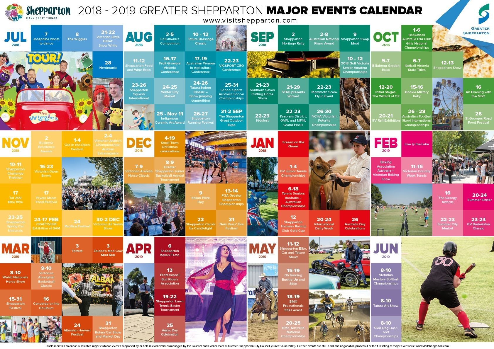 the major events calendar provides a great balance of major events across a full 12 months and a broad cross section of categories including arts and