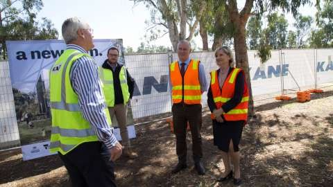 From left, Federal Member for Murray Damian Drum,  Madison James (Kane Constructions); Deputy Prime Minister Michael McCormack and Kim O'Keeffe (Mayor).