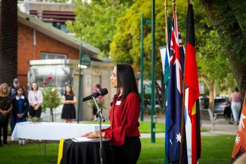 Greater Shepparton Mayor Cr Seema Abdullah speaking at the Apology Breakfast, held at the Queen's Gardens on Thursday 13 February 2020.