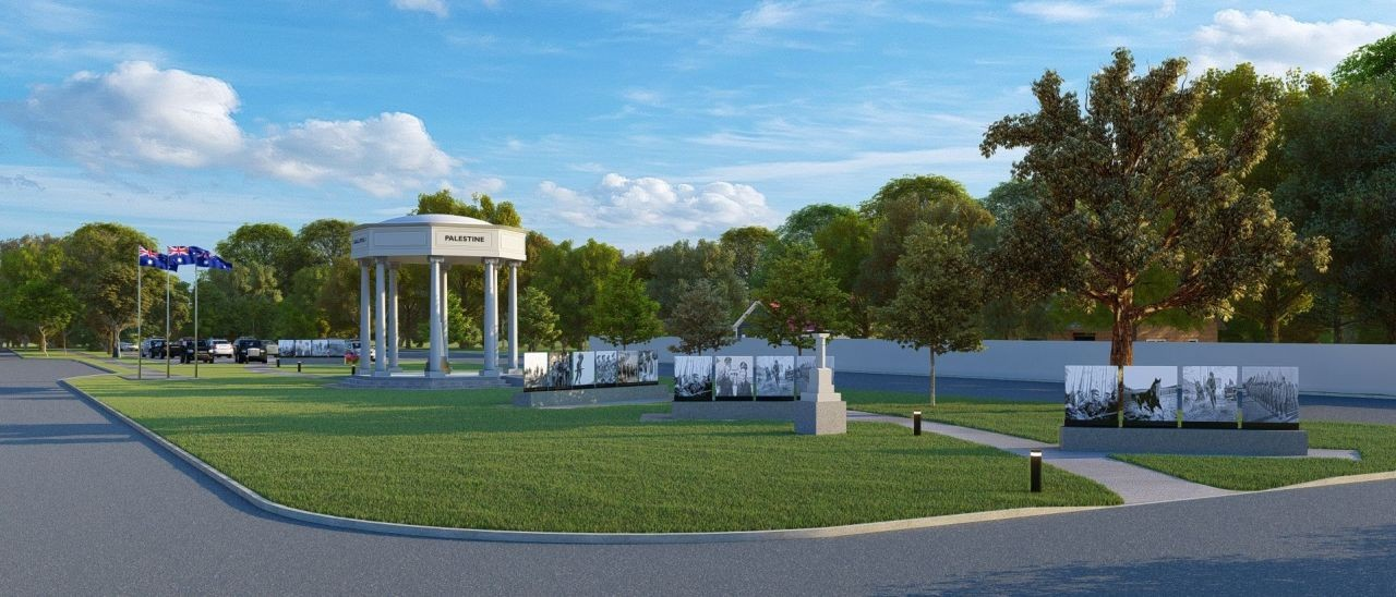 3D render of the future Mooroopna War Memorial landscaping project.
