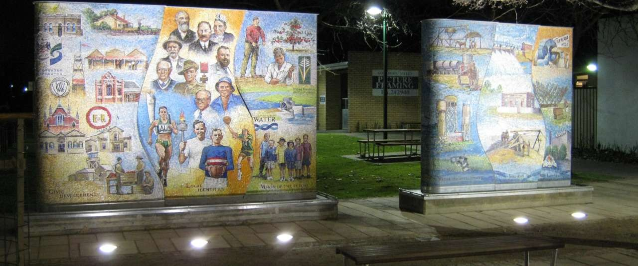The public space at Stuart Mock Place in Tatura features three mural artworks and a fountain.